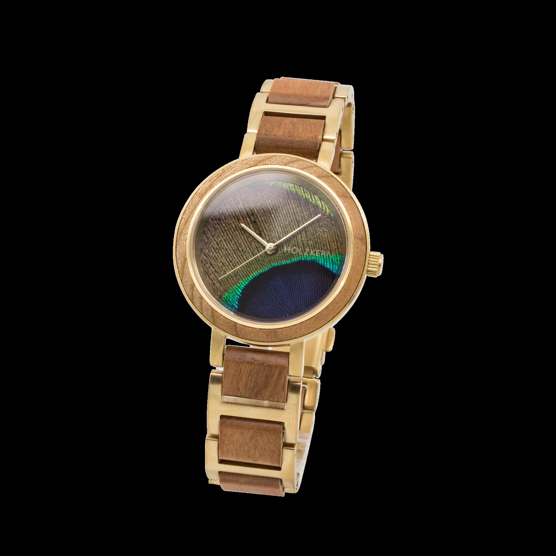 Holzkern Armbanduhr Die Beraterin (Kirsche/Pfauenfeder)