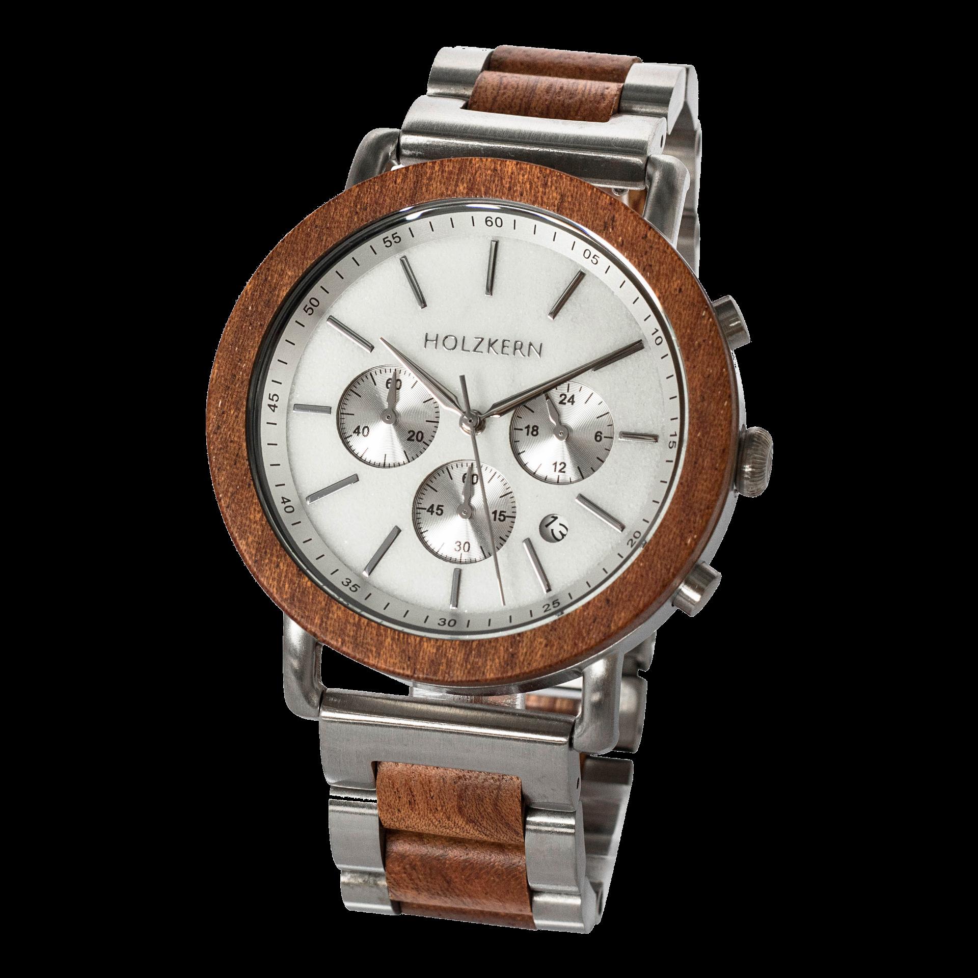 Holzkern Armbanduhr Nebelschleier (Mahagoni/Marmor)