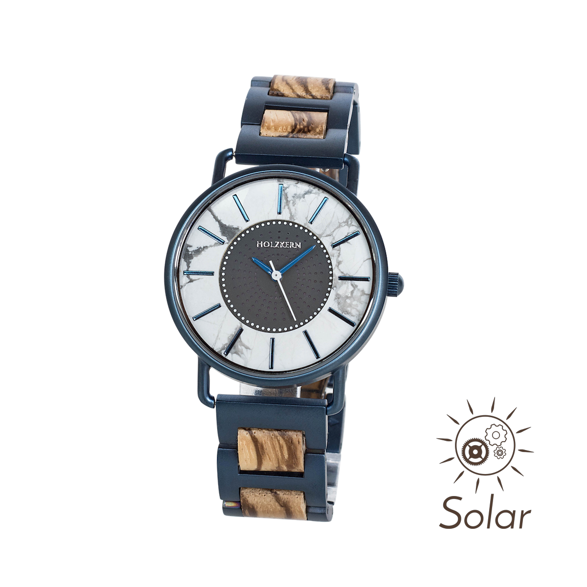 Holzkern Armbanduhr Solarium (Zebrano/Marmor)