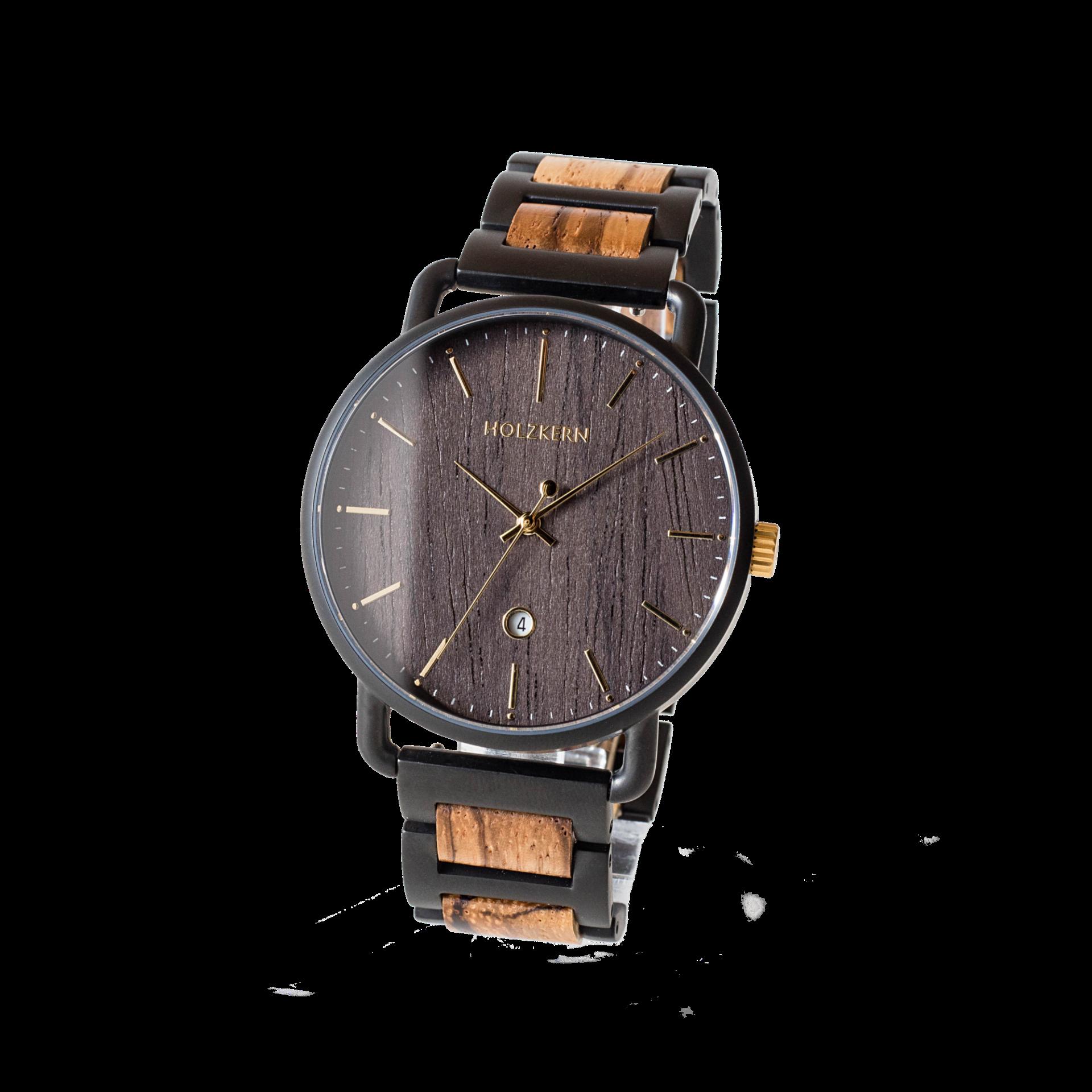 Holzkern Armbanduhr Tian (Zebrano/Leadwood)