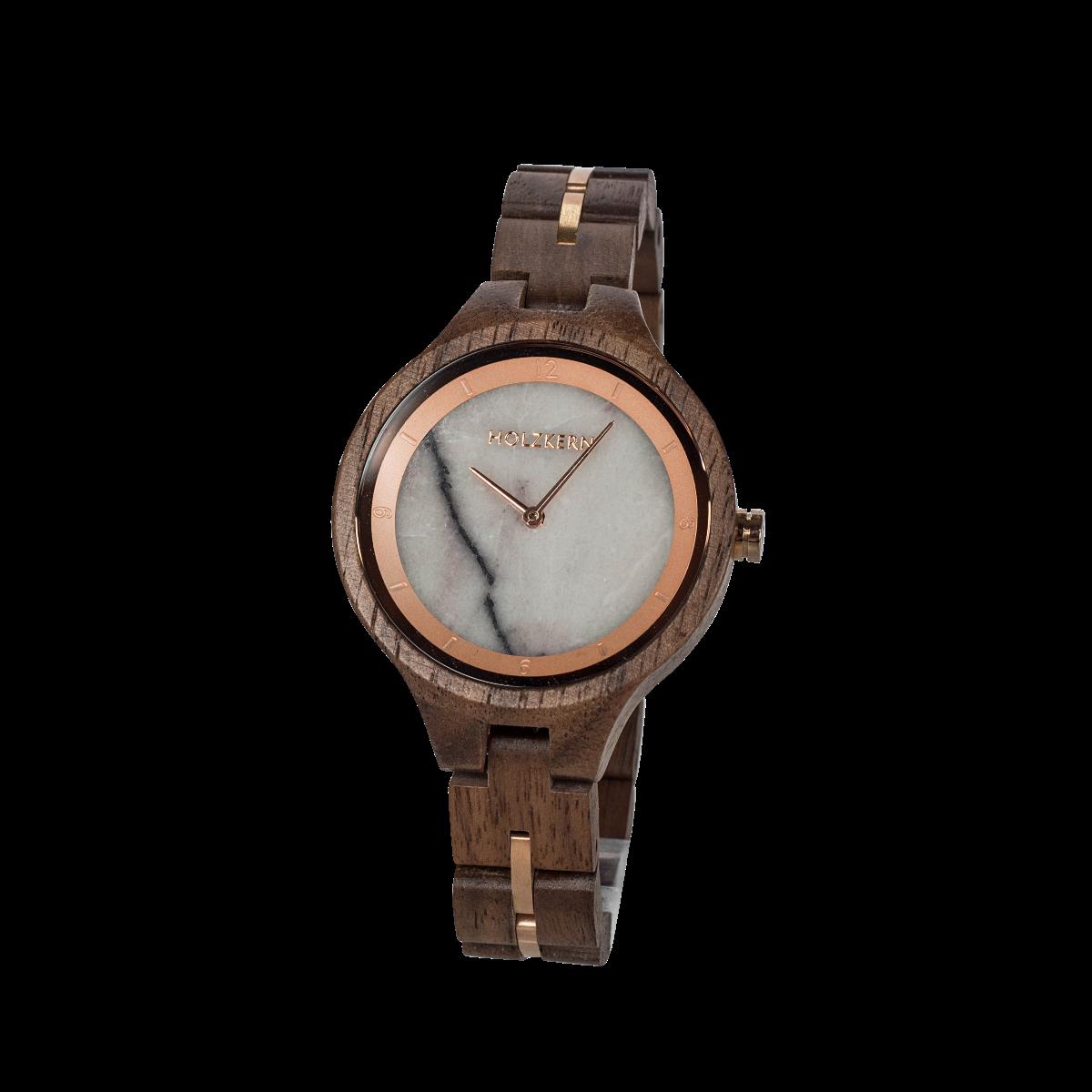 Holzkern Armbanduhr Tikal (Walnuss/Marmor)