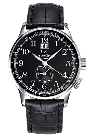 carl von zeyten -  Armbanduhr Etterlin Big Date, 3 Zeiger, Dual Time