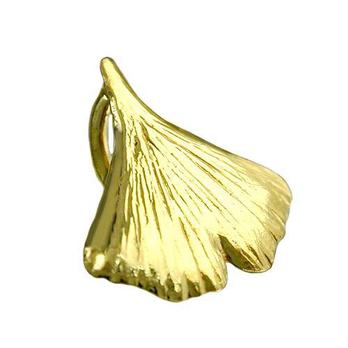 SIGO Anhänger, 9mm Ginkgoblatt glänzend Gold 375