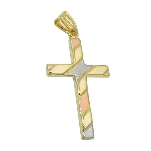 SIGO Anhänger, Kreuz tricolor, Gold 375