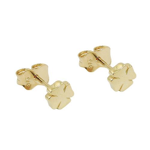 SIGO Ohrstecker, Kleeblatt glänzend, Gold 375