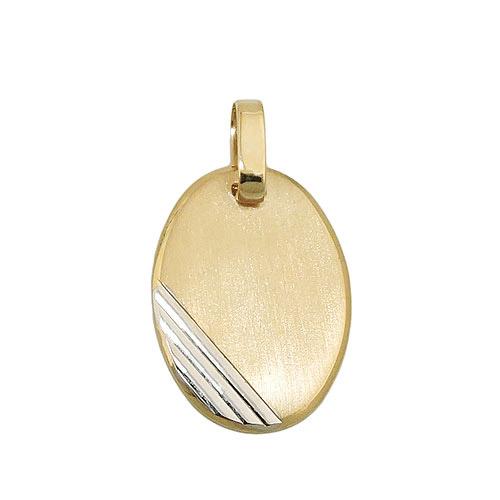 SIGO Anhänger Gravurplatte oval bicolor Gold 375