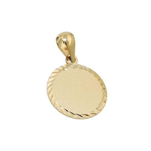 SIGO Anhänger, Gravurplatte rund, Gold 375