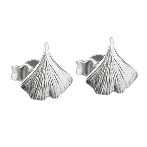 Ohrringe - SIGO Ohrstecker 9mm Ginkgoblatt glänzend Silber 925  - Onlineshop Goettgen
