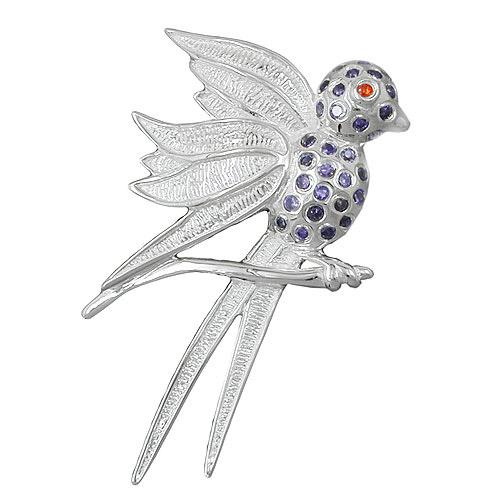Ketten - SIGO Anhänger, Vogel mit lila Steinen, 925  - Onlineshop Goettgen