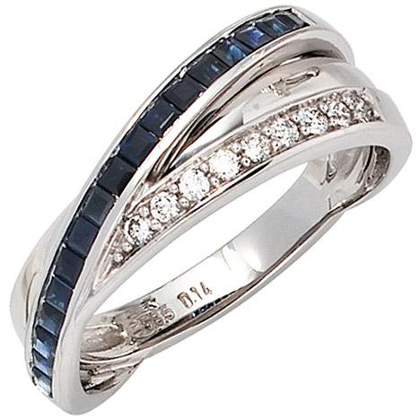 sigo -  Damen Ring 585 Gold Weißgold 9 Diamanten Brillanten 0,14ct. 17 Safire blau