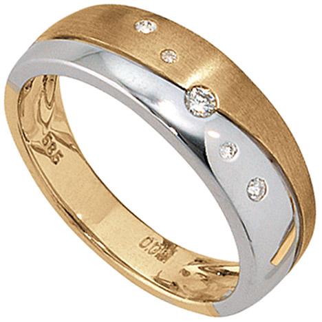 sigo -  Damen Ring 585 Gold Gelbgold Weißgold bicolor matt 5 Diamanten Brillanten