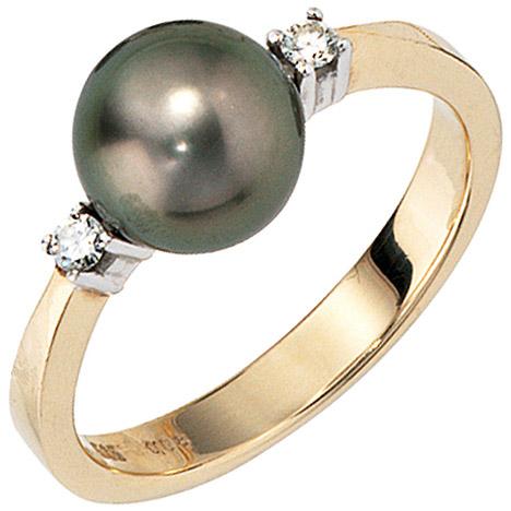 SIGO Damen Ring 585 Gold Gelbgold 2 Diamanten Brillanten 1 Tahiti Perle Perlenring