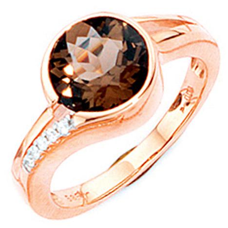 sigo -  Damen Ring 585 Gold Rotgold 1 Rauchquarz braun 5 Diamanten Brillanten Goldring