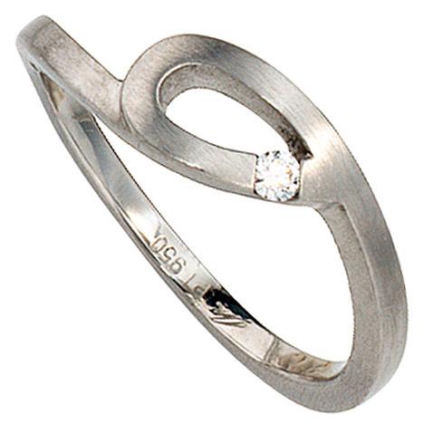 sigo -  Damen Ring 950 Platin matt 1 Diamant Brillant 0,04ct. Platinring