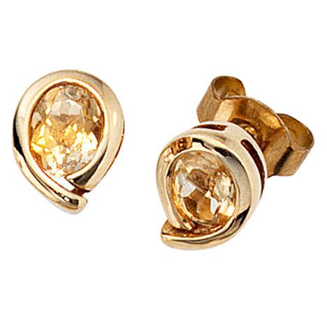 Ohrringe - SIGO Ohrstecker Tropfen 333 Gold Gelbgold 2 Citrine orange Ohrringe Goldohrstecker  - Onlineshop Goettgen