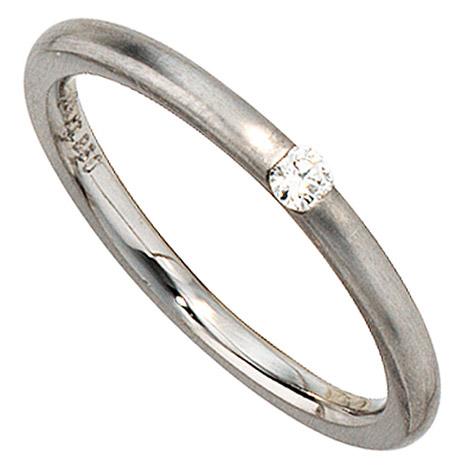 sigo -  Damen Ring 950 Platin matt 1 Diamant Brillant 0,06ct. Platinring