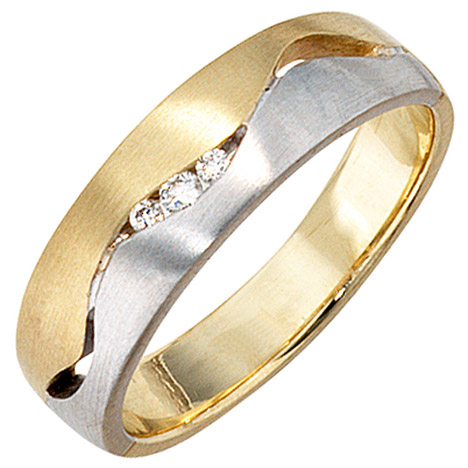 SIGO Damen Ring 585 Gold Gelbgold Weißgold bicolor matt 3 Diamanten Brillanten