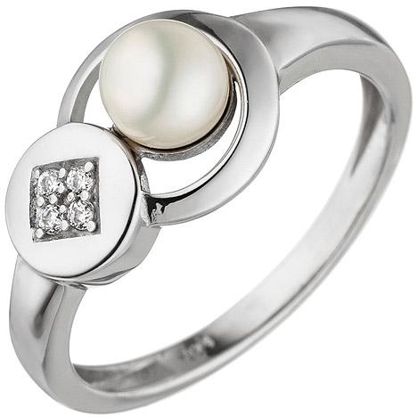 Ringe - SIGO Damen Ring 925 Sterling Silber 1 Süßwasser Perle 4 Zirkonia Silberring  - Onlineshop Goettgen