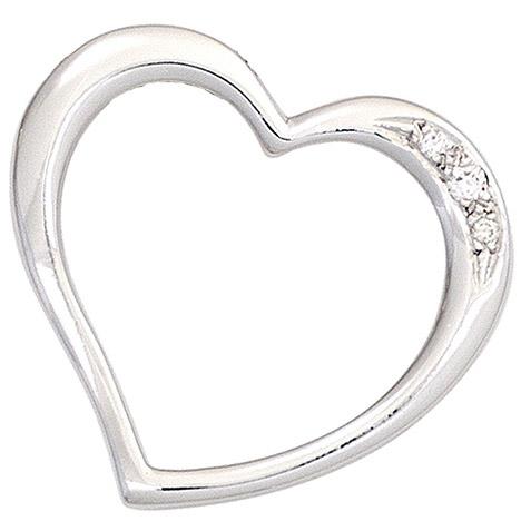SIGO Anhänger Herz 585 Gold Weißgold 3 Diamanten Brillanten 0,03ct. Herzanhänger