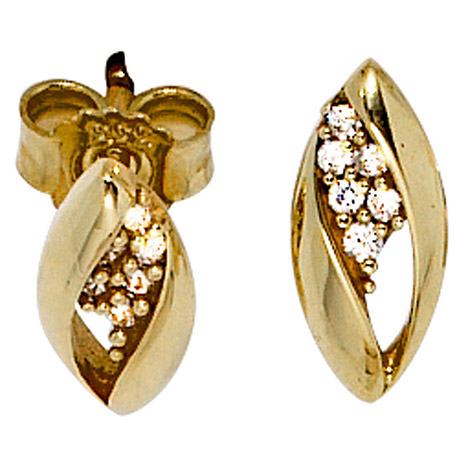 Ohrringe - SIGO Ohrstecker oval 333 Gold Gelbgold bicolor mit Zirkonia Ohrringe Goldohrstecker  - Onlineshop Goettgen