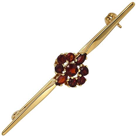 Broschen - SIGO Brosche 375 Gold Gelbgold 9 Granate rot Goldbrosche  - Onlineshop Goettgen