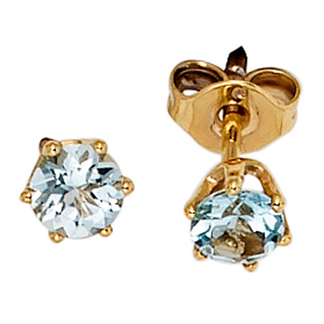SIGO Ohrstecker rund 585 Gold Gelbgold 2 Aquamarine hellblau blau Ohrringe