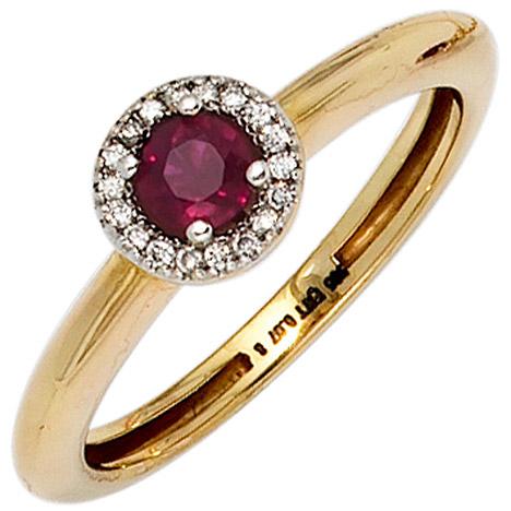 SIGO Damen Ring 585 Gold Gelbgold bicolor 1 Rubin rot 18 Diamanten Brillanten