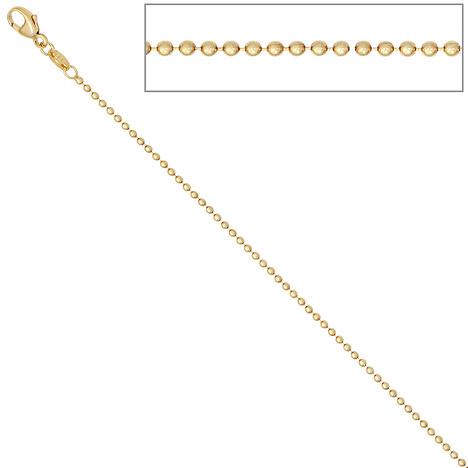 SIGO Kugelkette 585 Gelbgold 1,5 mm 42 cm Gold Kette Halskette Goldkette Karabiner