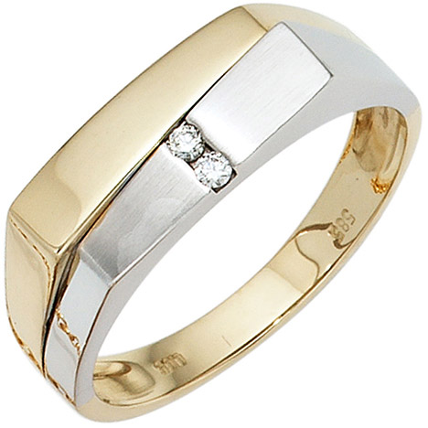 sigo -  Herren Ring 585 Gold Gelbgold Weißgold mattiert 2 Diamanten Brillanten Goldring
