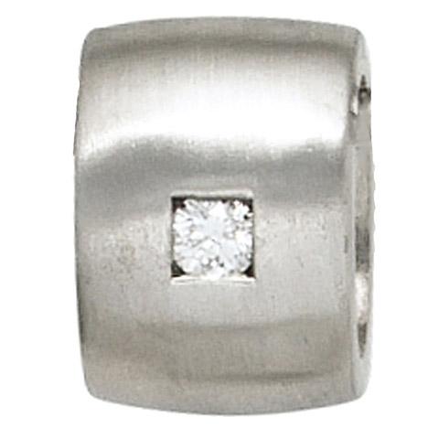 SIGO Anhänger 925 Sterling Silber rhodiniert mattiert 1 Diamant Brillant 0,05ct.