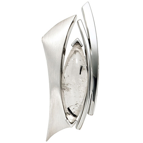 SIGO Anhänger 925 Sterling Silber rhodiniert mattiert 1 Turmalinquarz