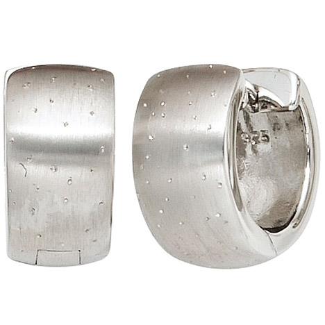 SIGO Creolen breit rund 925 Sterling Silber mattiert mit Glitzereffekt Ohrringe
