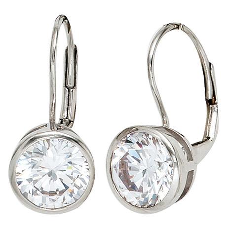 Ohrringe - SIGO Boutons rund 925 Sterling Silber rhodiniert 2 Zirkonia Ohrringe Ohrhänger  - Onlineshop Goettgen