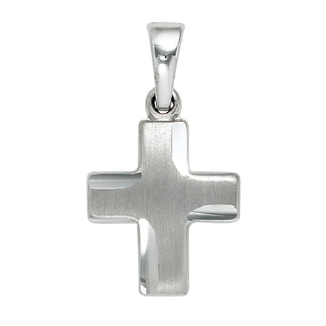 SIGO Anhänger Kreuz 925 Sterling Silber massiv mattiert Kreuzanhänger Silberkreuz