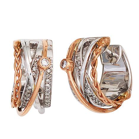 SIGO Creolen rund 585 Gold Weißgold Rotgold bicolor 52 Diamanten Ohrringe Goldcreolen