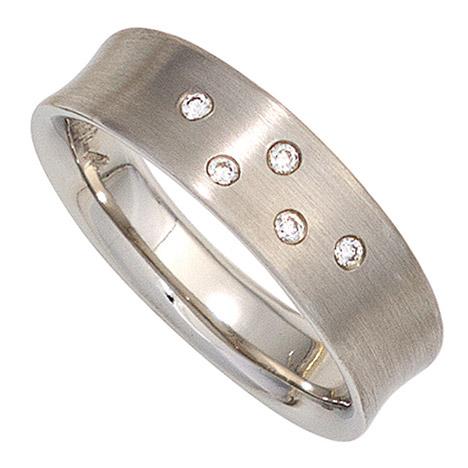 sigo -  Damen Ring 950 Platin matt 5 Diamanten Brillanten 0,06ct. Platinring