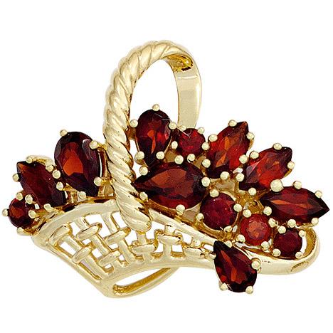 Broschen für Frauen - SIGO Brosche Korb 333 Gold Gelbgold 13 Granate rot Goldbrosche  - Onlineshop Goettgen