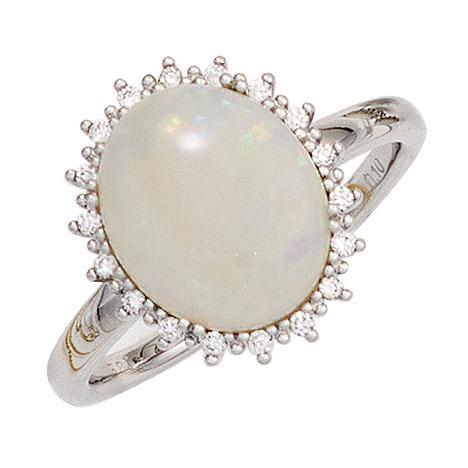 SIGO Damen Ring 585 Gold Weißgold 1 Opal 18 Diamanten Brillanten 0,10ct. Goldring