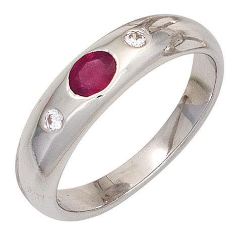 SIGO Damen Ring 925 Sterling Silber rhodiniert 1 Rubin rot 2 Zirkonia Silberring