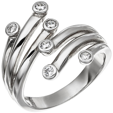 SIGO Damen Ring 925 Sterling Silber rhodiniert 6 Zirkonia Silberring