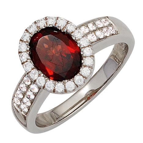 SIGO Damen Ring 925 Sterling Silber rhodiniert 1 Granat rot mit Zirkonia Silberring