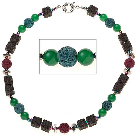 SIGO Halskette Edelsteinkette Lava mit Achat und Hämatin bunt 48 cm Kette