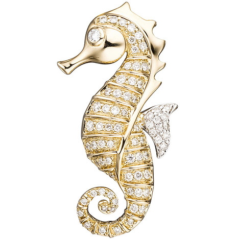 SIGO Anhänger Seepferdchen 585 Gelbgold 73 Diamanten Brillanten Goldanhänger