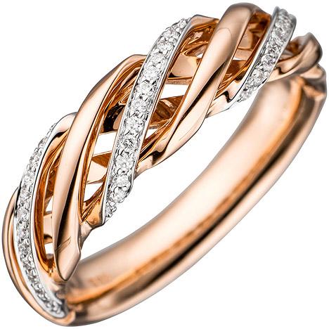 Ringe - SIGO Damen Ring gedreht 585 Gold Rotgold bicolor 36 Diamanten Brillanten Goldring  - Onlineshop Goettgen