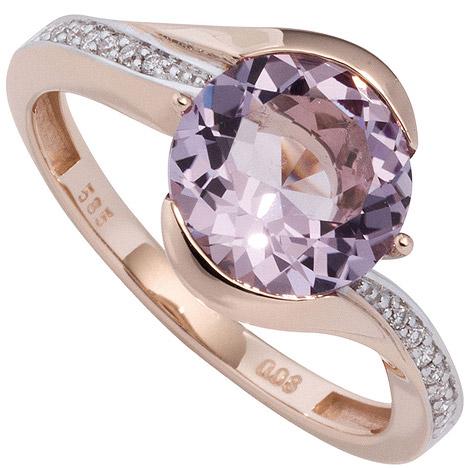 sigo -  Damen Ring 585 Rotgold bicolor 16 Diamanten Brillanten 1 Amethyst lila violett
