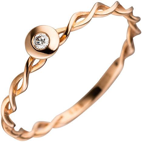 sigo -  Damen Ring gedreht 585 Gold Rotgold 1 Diamant Brillant Rotgoldring Diamantring