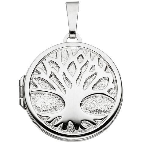 Ketten - SIGO Medaillon rund Baum 925 Sterling Silber rhodiniert zum Öffnen für 2 Fotos  - Onlineshop Goettgen