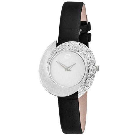 Uhren - ARS Damen Armbanduhr 750 Gold Weißgold mit 34 Diamanten schwarzes Lederband  - Onlineshop Goettgen