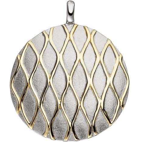 Ketten - SIGO Anhänger rund 925 Sterling Silber bicolor vergoldet matt mattiert  - Onlineshop Goettgen