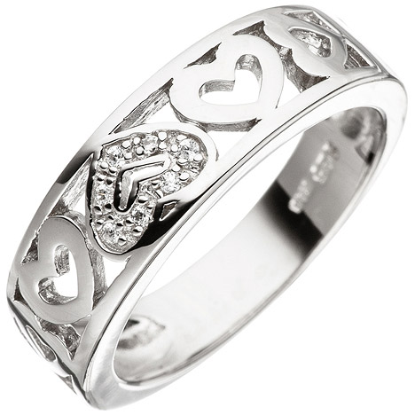 Ringe - SIGO Damen Ring Herz Herzen 925 Sterling Silber mit Zirkonia Silberring  - Onlineshop Goettgen